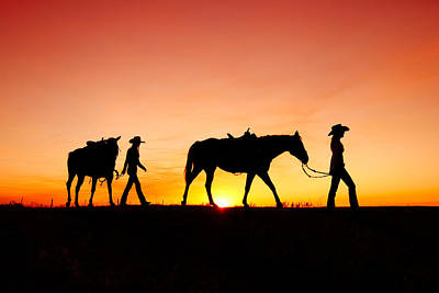 Cowgirl Photograph - Off To The Barn by Todd Klassy