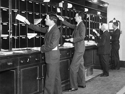 Office Men Sorting Mail Print by Underwood Archives