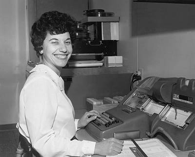 Data Photograph - Office Worker Entering Data by Underwood Archives
