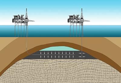 Offshore Oil Drilling Print by Mikkel Juul Jensen