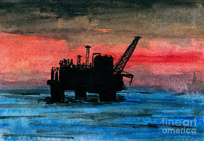 Sea Platform Painting - Offshore Oil by R Kyllo