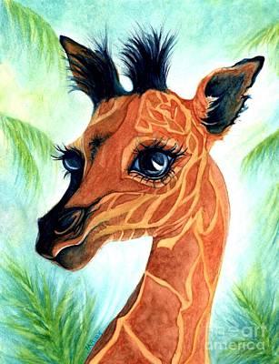 Baby Giraffe Painting - Oh Baby Giraffe by Janine Riley