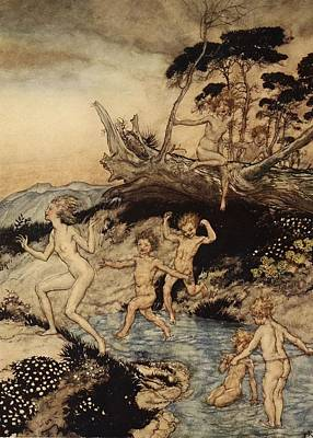 Joyous Painting - Oh What A Good Time Was That by Arthur Rackham