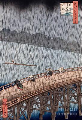 Raining Painting - Ohashi Sudden Shower At Atake by Ando Hiroshige