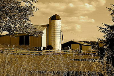 Ohio Farm In Sepia Print by Frozen in Time Fine Art Photography