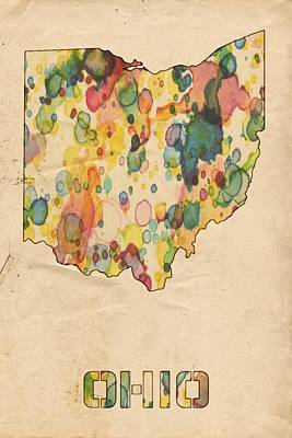 America Painting - Ohio Map Vintage Watercolor by Florian Rodarte