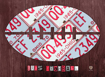 Osu Mixed Media - Ohio State Buckeyes Football Recycled License Plate Art by Design Turnpike