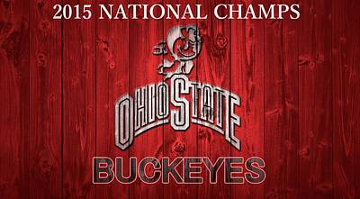 Ohio State Buckeyes National Champs Barn Door Print by Dan Sproul
