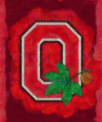 Baseball Painting - Ohio State Buckeyes On Canvas by Dan Sproul