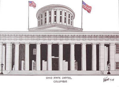 Capitol Building Drawing - Ohio State Capitol by Frederic Kohli