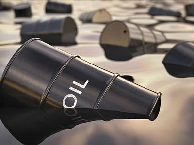 Oil Barrels Floating Print by Ktsdesign
