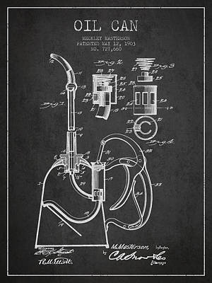 Oil Can Patent From 1903 - Dark Print by Aged Pixel