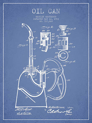 Oil Can Patent From 1903 - Light Blue Print by Aged Pixel