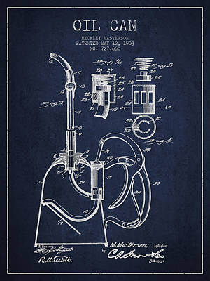 Oil Can Patent From 1903 - Navy Blue Print by Aged Pixel