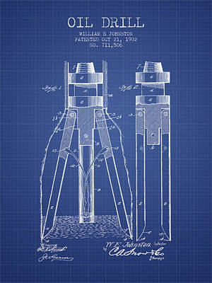 Oil Drill Rig Drawing - Oil Drill Patent From 1902 - Blueprint by Aged Pixel