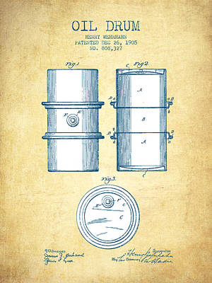 Drum Digital Art - Oil Drum Patent Drawing From 1905 - Vintage Paper by Aged Pixel