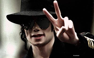 Michael Jackson Oil Painting - Oil Painting- Michael Jackson by Purushotam Sketches