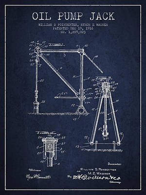 Oil Pump Jack Patent Drawing From 1916 - Navy Blue Print by Aged Pixel