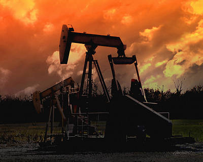 Silhoette Digital Art - Oil Pump Jack With Colorful Sky by Ann Powell