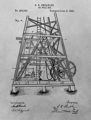 Oil Drawing - Oil Rig Patent Drawing by Dan Sproul