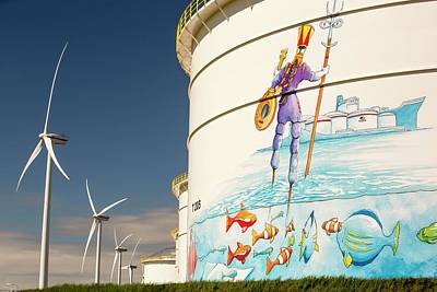 Mural Photograph - Oil Terminal And Wind Turbines by Ashley Cooper