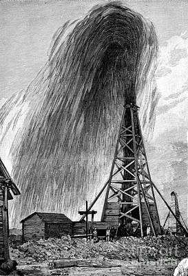 Flowing Wells Photograph - Oil Well, 19th Century by Spl