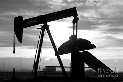 Oil Well Pump Jack Black And White Print by James BO  Insogna