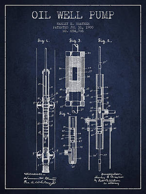 Oil Well Pump Patent From 1900 - Navy Blue Print by Aged Pixel