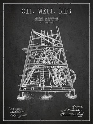 Texas A And M Digital Art - Oil Well Rig Patent From 1893 - Dark by Aged Pixel