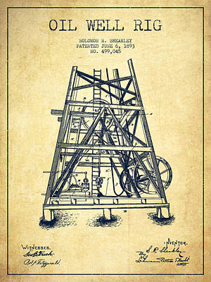 Texas A And M Digital Art - Oil Well Rig Patent From 1893 - Vintage by Aged Pixel