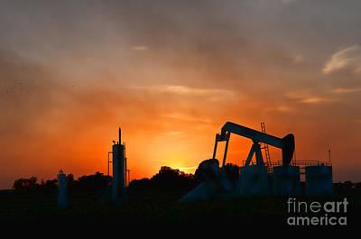 Oilfield Sunset Print by Debra McKinnon