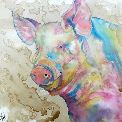 Salmon Painting - Oink by Christy  Freeman