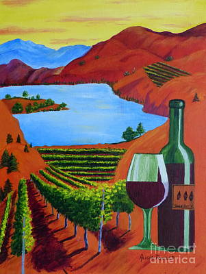 Glass Of Wine Painting - Okanagan Wine Country by Alicia  Fowler