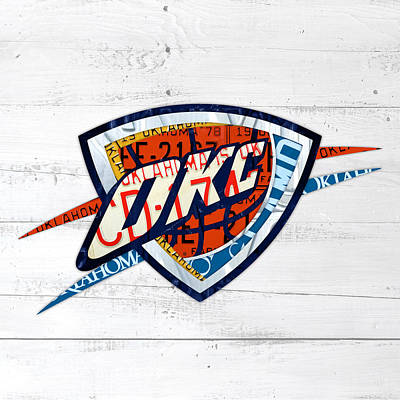 Basketball Mixed Media - Okc Thunder Basketball Team Retro Logo Vintage Recycled Oklahoma License Plate Art by Design Turnpike