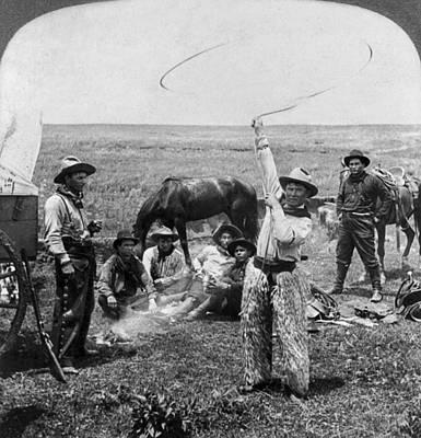 Roping Horse Painting - Oklahoma Cowboys, C1905 by Granger