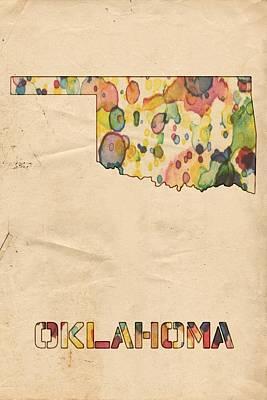 America Painting - Oklahoma Map Vintage Watercolor by Florian Rodarte