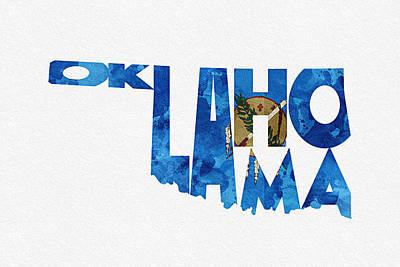 Oklahoma Typographic Map Flag Print by Ayse Deniz