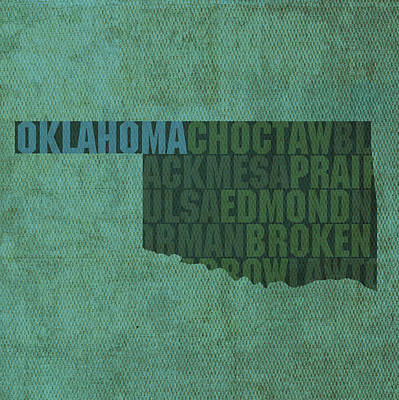 Mixed Media - Oklahoma Word Art State Map On Canvas by Design Turnpike