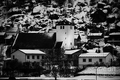 Oksfjord Church And Village During Winter Norway Europe Print by Joe Fox