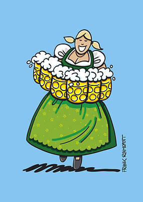Oktoberfest Beer Waitress Dirndl Print by Frank Ramspott