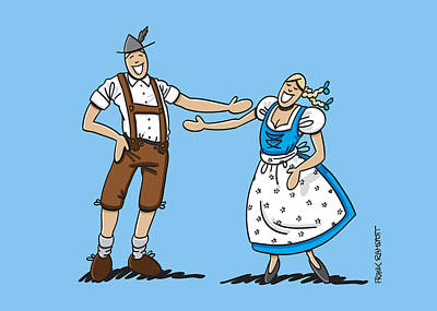 Man Drawing - Oktoberfest Lovers Happy About Each Other by Frank Ramspott