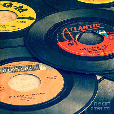 Old 45 Records Square Format Print by Edward Fielding