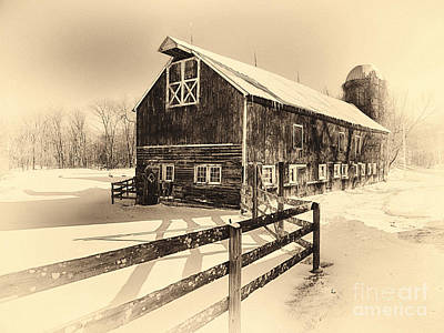 Old American Barn On Snow Covered Land Print by George Oze