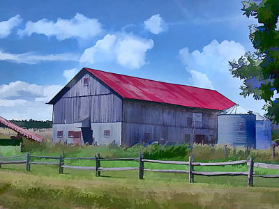 Fencing Painting - Old Barn And Grain Silos by Elaine Plesser