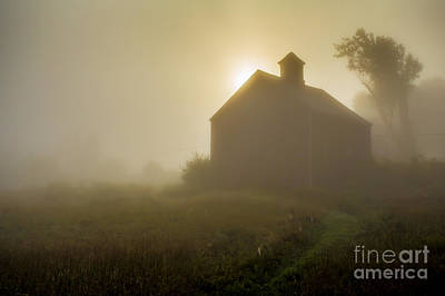Old Barn Foggy Morning Print by Edward Fielding