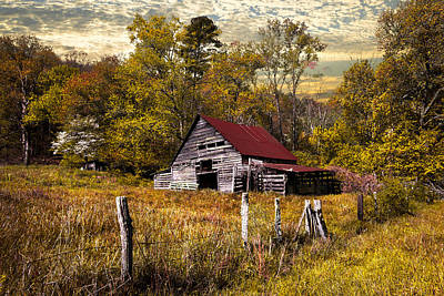 Smokey Sky Photograph - Old Barn In Autumn by Debra and Dave Vanderlaan