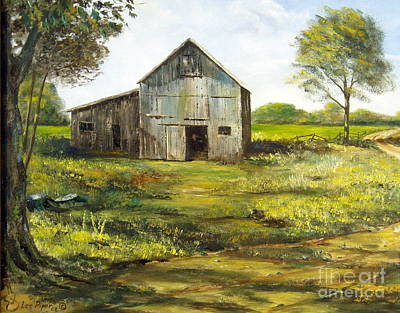 Maine Meadow Painting - Old Barn by Lee Piper