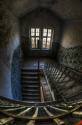 Dilapidated Digital Art - Old Barracks Stairs by Nathan Wright