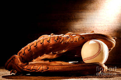 Softball Photograph - Old Baseball Glove by Olivier Le Queinec