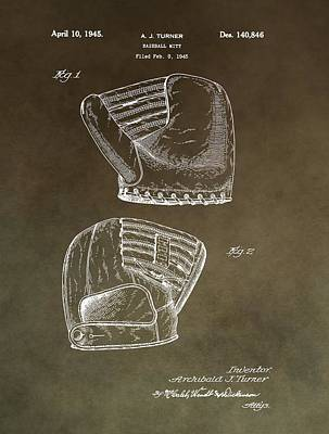 Hand Thrown Mixed Media - Old Baseball Mitt Patent by Dan Sproul